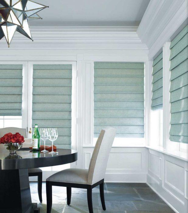 Kitchen with roman shades