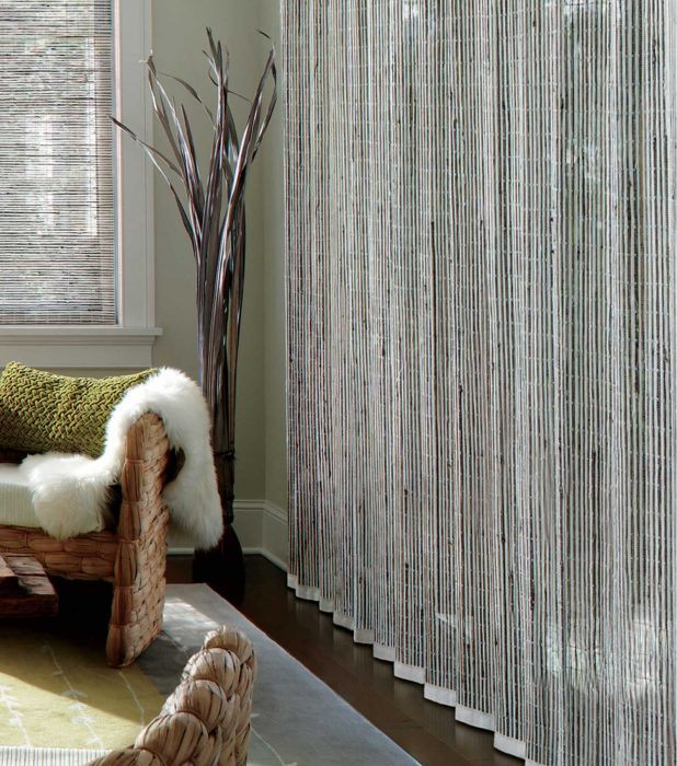 Room with custom woven wood shades